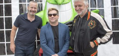 """Just for Laughs Executive Producer Bruce Hills, left, Scott Maidment , President and founder of Australian comedy festival """"The Garden of Unearthly Delights"""", centre, and Just for Laughs President and founder Gilbert Rozon, right, pose for photos at a news conference Tuesday, July 18, 2017 in Montreal. The two companies announced a partnership to produce a circuit of international comedy festivals.THE CANADIAN PRESS/Ryan Remiorz"""