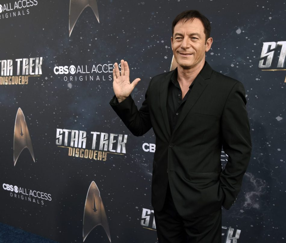 """Jason Isaacs, a cast member in """"Star Trek: Discovery,"""" poses at the premiere of the new television series on Tuesday, Sept. 19, 2017, in Los Angeles. (Photo by Chris Pizzello/Invision/AP)"""