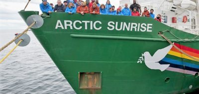 Arctic Sunrise and Crew in Chile