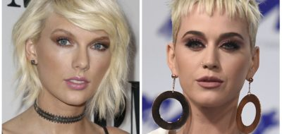 This combination of photos shows Taylor Swift, left, on May 10, 2016, in Beverly Hills, Calif., and Katy Perry, right, on Aug. 27, 2017, in Inglewood, Calif., Aug. 27, 2017. Swift received a peace offering from Perry before launching her new tour. Swift shared a video on her Instagram Stories Tuesday, May 8, 2018, showing a package that Perry sent included an olive branch (Invision/AP, Files)